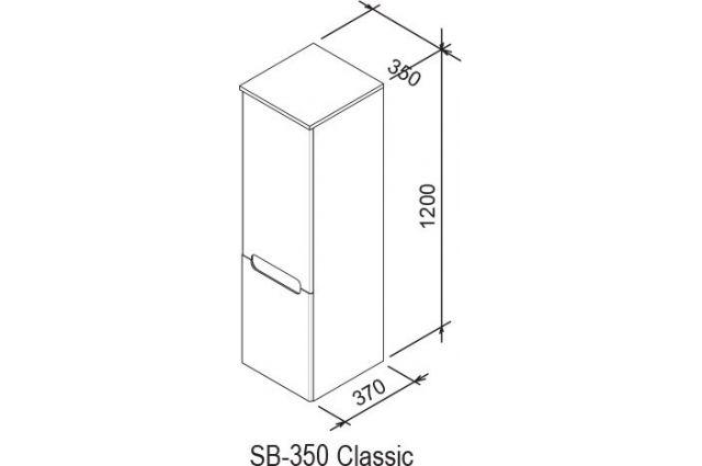 Aukšta spintelė SB Classic 350, L balta/balta