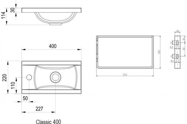 Lietas praustuvas Ravak Classic, Mini 40 cm, be persipylimo