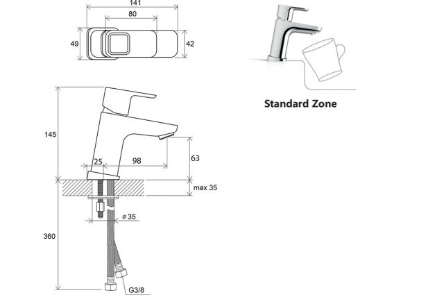 Praustuvo maišytuvas Ravak 10°, TD 012.00 140 mm, be dugno vožtuvo