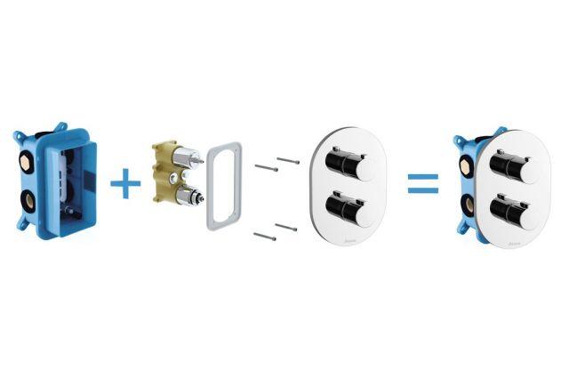 Termostatinis potinkinis maišytuvas Ravak Chrome, CR 067.00 skirtas trijų režimų R-box Multi