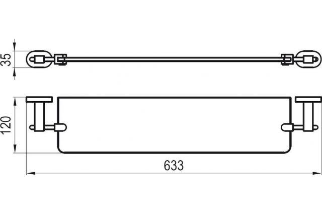 Stiklinė lentynėlė Ravak Chrome, CR 500.00 64 cm (matinis stiklas)