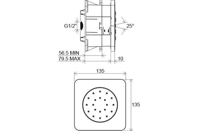 Potinkinis purkštukas Ravak Chrome, 990.00, 135 mm