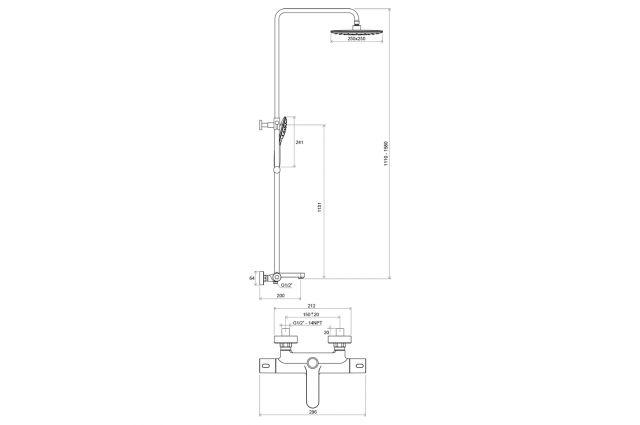 Stacionari dušo sistema Ravak Termo 300, TE 092.00/150, su termostatiniu vonios maišytuvu