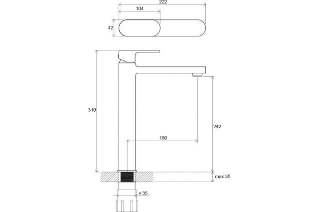 Praustuvo maišytuvas Ravak Chrome, CR 015.00 aukštas