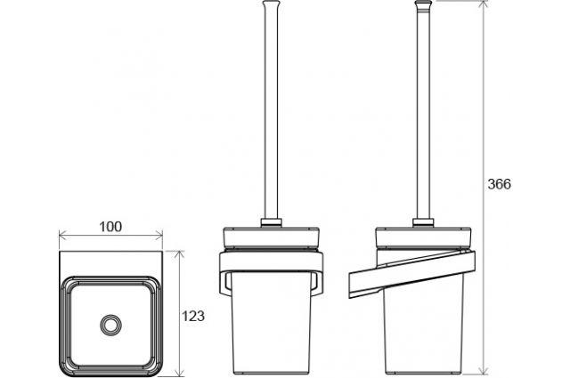 WC šepetys Ravak 10°, TD 410 su laikikliu ir indeliu (stiklas)