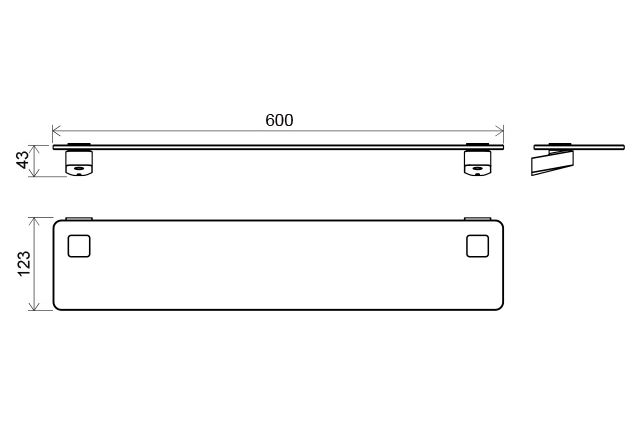 Stiklinė lentynėlė Ravak 10°, TD 500 60 cm