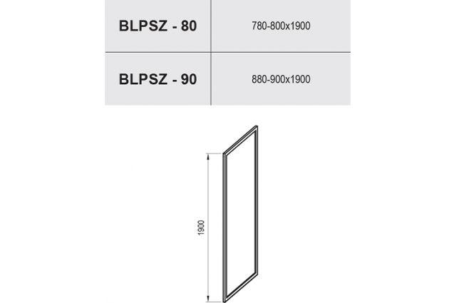 Stacionari sienelė Ravak Blix, BLPSZ-90, bright alu+Transparent