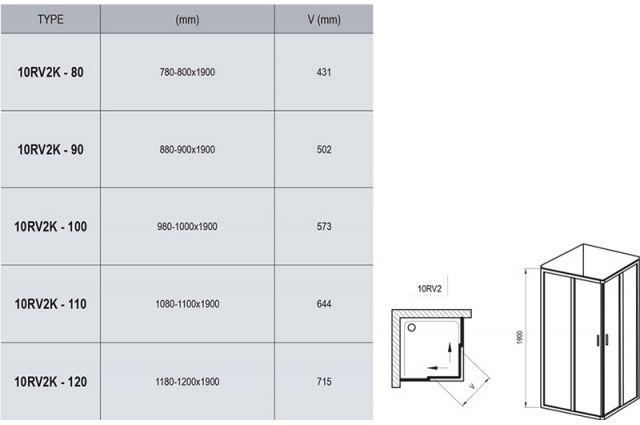 Dušo kabina Ravak 10°, 10RV2K-80, blizgi+Transparent (viena sienelė)