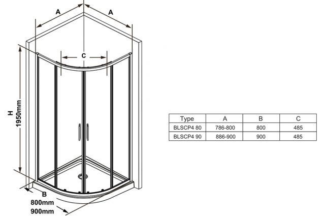 Pusapvalė dušo kabina Ravak Blix Slim, BLSCP4-90 blizgus +Transparent