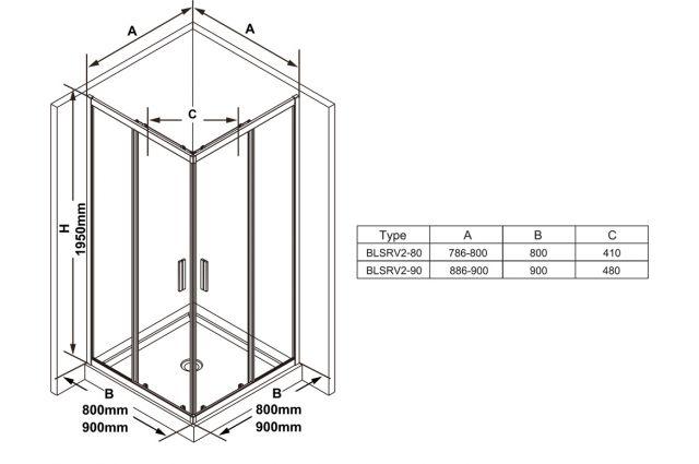 Kvadratinė dušo kabina Ravak Blix Slim, BLSRV2-80 blizgus +Transparent