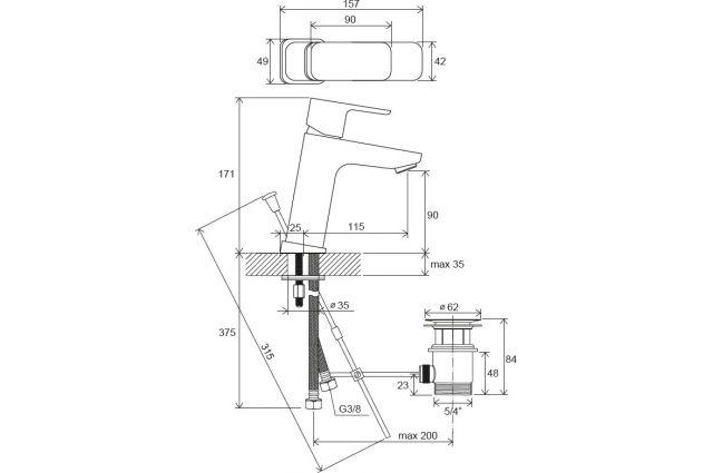Praustuvo maišytuvas Ravak 10° Free, TD F 013.00 170 mm, su dugno vožtuvu
