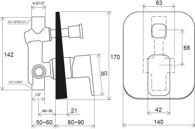 Potinkinis maišytuvas Ravak 10° Free, TD F 061.00 su jungikliu