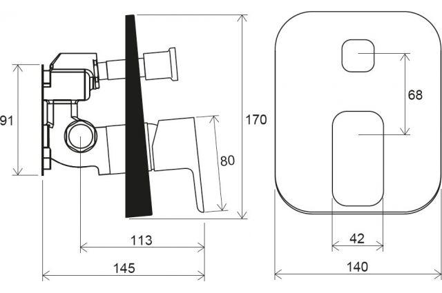 Potinkinis maišytuvas Ravak 10° Free, TD F 065.00 su jungikliu, skirtas R-box