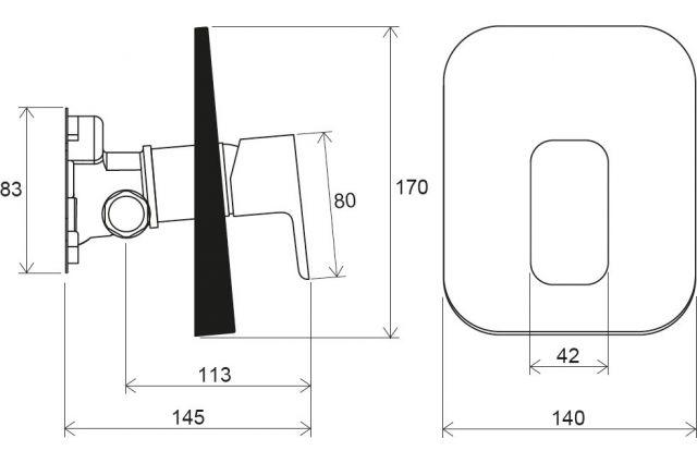 Potinkinis maišytuvas Ravak 10° Free, TD F 066.00 be jungiklio, skirtas R-box
