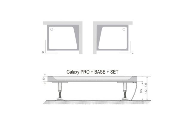Dušo padėklo apdailos plokštė Ravak Gigant Pro Set, 120x80 L balta