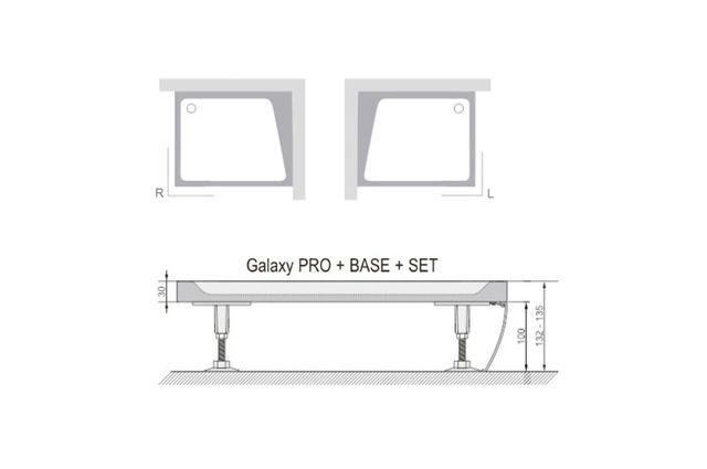 Dušo padėklo apdailos plokštė Ravak Gigant Pro Set, 120x80 R balta