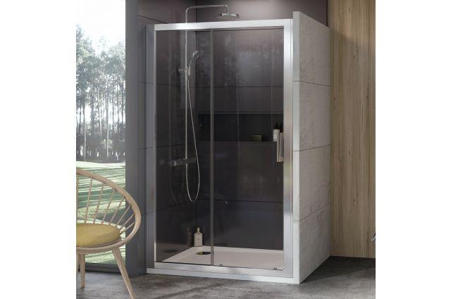 Stumdomos dušo durys Ravak 10°, 10DP2-100, satinas+Transparent