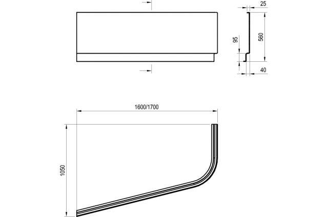 Apdailos plokštė voniai Ravak Chrome, 170x105, kairinė