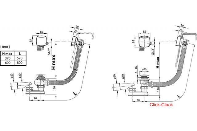 Vonios sifonas Ravak, 570 II, užpildantis vandeniu, ClickClack