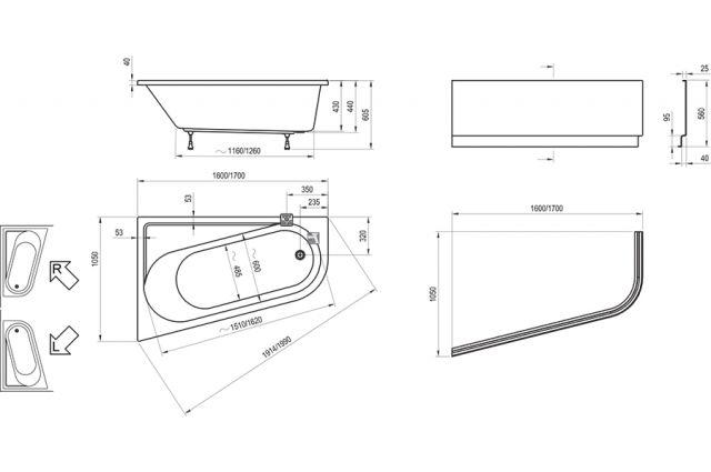 Asimetrinė vonia Ravak Chrome, 160x105, kairinė