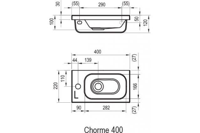 Lietas praustuvas Ravak Chrome, 40 cm L be persipylimo