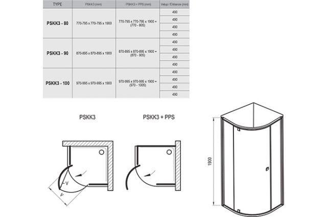 Pusapvalė dušo kabina Ravak Pivot, PSKK3-80, satinas+stiklas Transparent