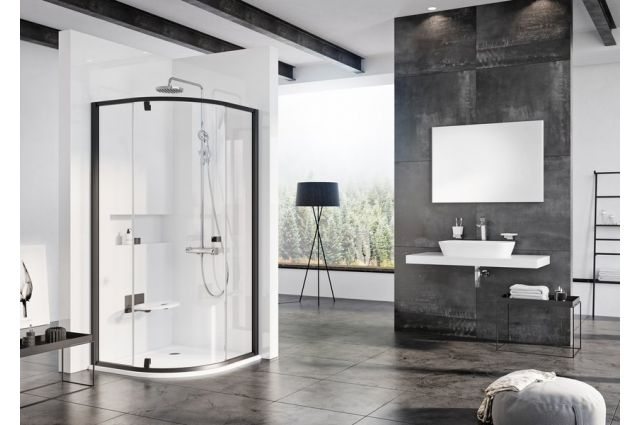 Pusapvalė dušo kabina Ravak Pivot, PSKK3-80, juoda+Transparent