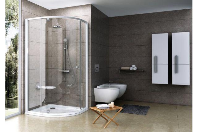 Pusapvalė dušo kabina Ravak Pivot, PSKK3-100, balta/chromas+stiklas Transparent