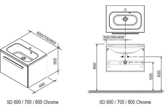 Praustuvo spintelė Ravak SD Chrome, 60 cm balta/balta