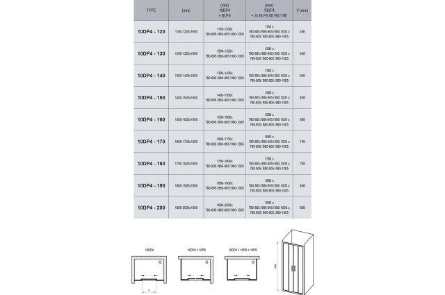 Stumdomos dušo durys Ravak 10°, 10DP4-190, blizgi+Transparent