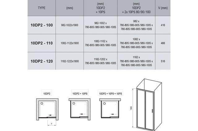 Stumdomos dušo durys Ravak 10°, 10DP2-120, satinas+Transparent