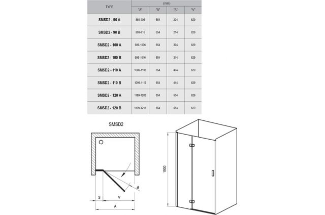 Varstomos dušo durys Ravak SmartLine, SMSD2-100, (A) L chromas+stiklas Transparent