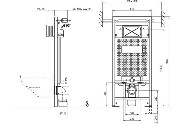 WC rėmo Ravak G laikiklis, teleskopinis