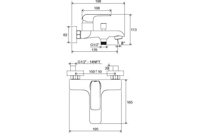 Sieninis maišytuvas Ravak Flat, vonios/dušo FL 022.00/150