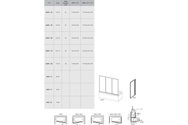 Stumdomos vonios durys Ravak, AVDP3-170, balta+stiklas Grape