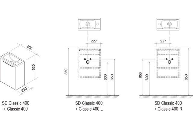 Praustuvo spintelės Ravak SD Classic 400 korpusas, baltas