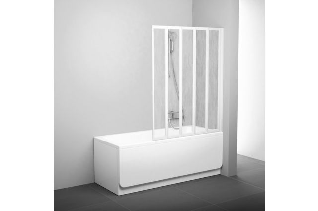 Sulankstoma vonios sienelė Ravak, VS5 113.5, balta+plastikas Rain