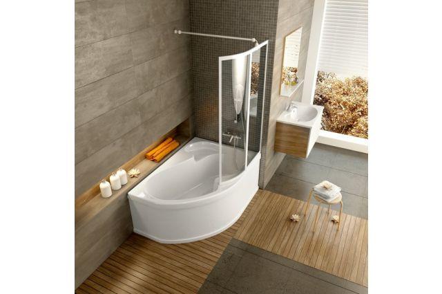 Vonios sienelė Ravak Rosa, VSK2 150, L balta+stiklas Transparent