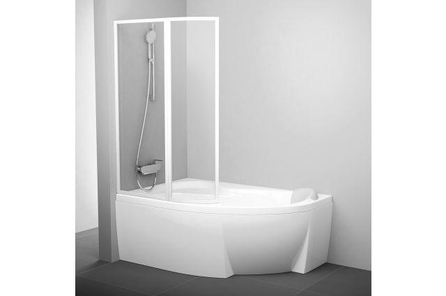 Vonios sienelė Ravak Rosa, VSK2 160, L balta+stiklas Transparent
