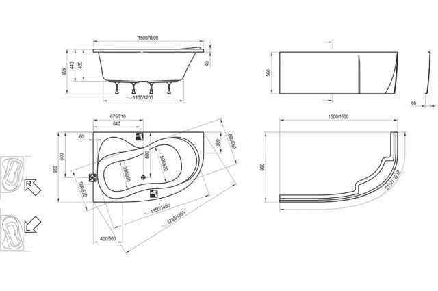 Akrilinė asimetriška vonia Ravak Rosa 95, 150x95 R