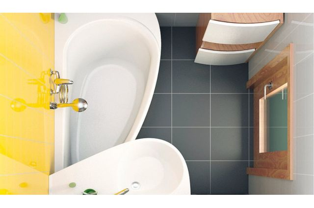 Akrilinė asimetriška vonia Ravak Avocado, 160x75 L