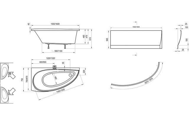 Akrilinė asimetriška vonia Ravak Avocado, 150x75 L