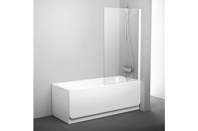 Stacionari vonios sienelė Ravak Pivot, PVS1 80 balta+stiklas Transparent