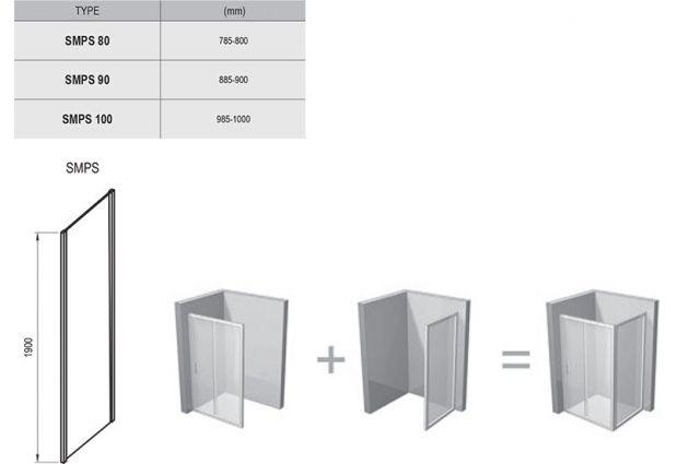Stacionari sienelė Ravak SmartLine, SMPS-80 L chromas+stiklas Transparent