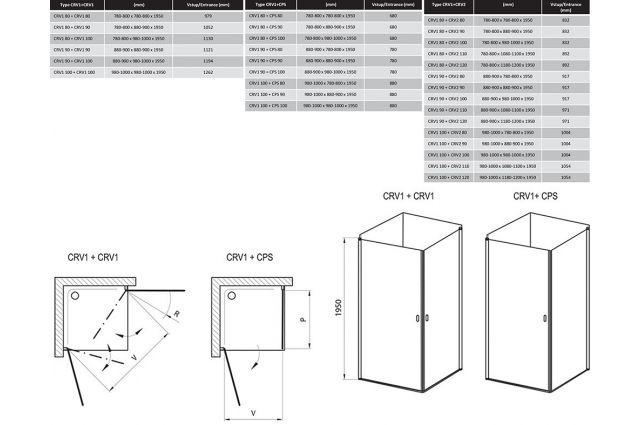 Stačiakampės dušo kabinos sienelė Ravak Chrome, CRV1-80, satinas+stiklas Transparent