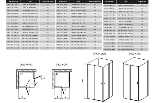 Stačiakampės dušo kabinos sienelė Ravak Chrome, CRV2-80, balta+stiklas Transparent