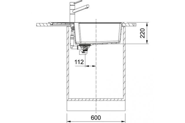 Akmens masės plautuvė Franke Urban, UBG 611-78 XL, Umbra