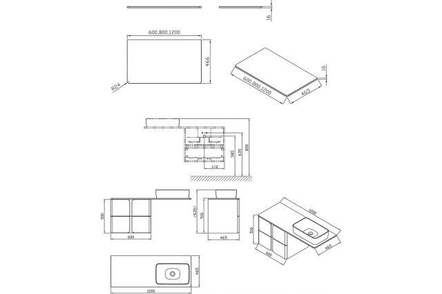Spintelė po praustuvu Ravak SD Balance, 600, balta/grafito