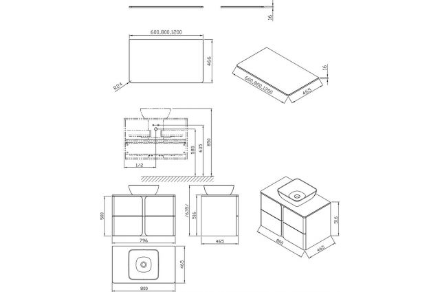 Spintelė po praustuvu Ravak SD Balance, 800, balta/grafito