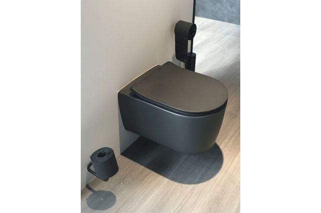 Pakabinamas WC Glacera Alfa, juodas matinis